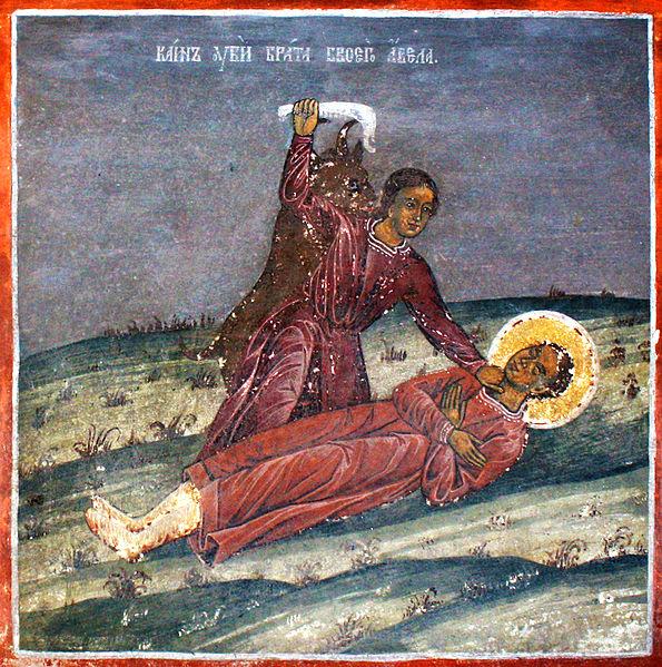 Каин убива брат си Авел - стенопис от с. Радуил