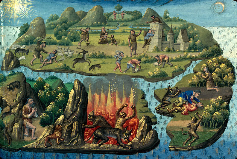 """Caino e Abele"", miniatura tratta da 'La Cité de Dieu' (1480 circa), Bibliothèque municipale, Mâcon."